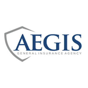 Logo for Aegis insurance company. Links to their contact info.