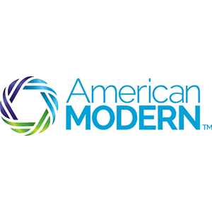 Logo for American Modern insurance company. Links to their contact info.