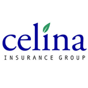 Logo for Celina insurance company. Links to their contact info.